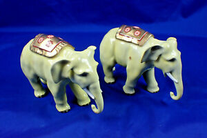 A CIRCA 1920'S PAIR OF DRESDEN ELEPHANTS A8787A AND A87870 NO DAMAGE