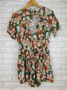 Country Road Playsuit Sz 6 Grey, green, brown floral print