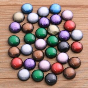 40Pcs 12mm Fashion Mix Colors Stone Button Bright Flat Back Resin Cabochons Fit