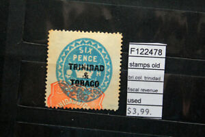 STAMPS OLD BRITISH COLONIES TRINIDAD FISCAL REVENUE USED (F122478)