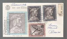 SAN MARINO P.O.1965 FDC RACCOMANDATA 3 VAL. F.A.I.P. DANTE ALIGHIERI FIRST DAY