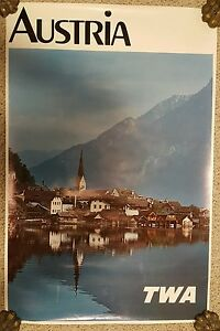 Vintage AUSTRIA TWA AIRLINES Travel Poster Tourism Advertising Trans World Air