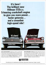 HILLMAN SUPER MINX & MINX DE LUXE RETRO A3 POSTER PRINT FROM CLASSIC 60's ADVERT