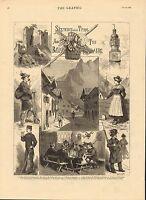 1883 Stampa ~ Tyrol & Bavaria ~ Castle Fragenstein Peasants Di Highlands
