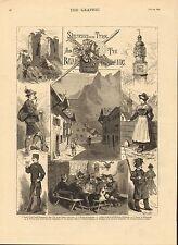 1883 Stampa ~ TIROLO & Baviera ~ CASTELLO fragenstein contadini delle Highlands austriaca
