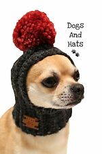 The Pom Pom Dog Hat snood . Small Chihuahua, Yorkie. Many Colours