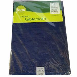 52x70 Oblong Food Network Indigo Blue Ribbed Fabric Tablecloth