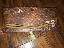 NWT Anthropologie Genuine Pearl Leather Boho Nickel Free Choker Necklace-$78