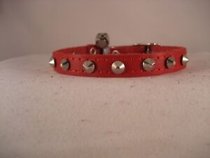 LEATHER RED STUDDED CAT COLLAR