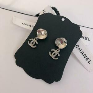 Auth CHANEL Rhinestone CC Logo Drop Piercing Earrings Silver 04P Used from Japan