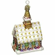 Old World Christmas Gingerbread Church Glass Ornament Candycanes 20077