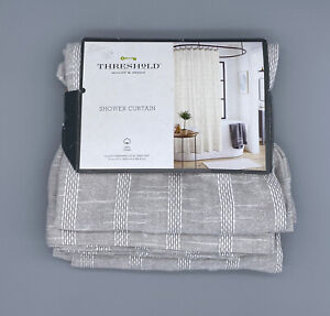 Threshold Quality & Design Shower Curtain Grey White Cotton NEW