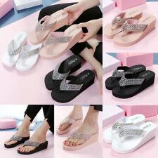 Womens Summer Sequin Wedge Mid Heel Platform Flip Flops Shoes Sandals Slippers