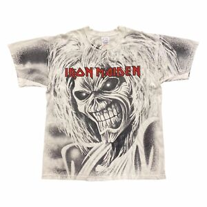 Iron Maiden All Over Print Tshirt   Vintage 90s Heavy Metal Rock Band Music VTG