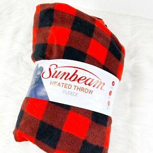 Sunbeam Red Buffalo Plaid Check Fleece Heated Throw Chistmas 3 Heat Settin 50x60