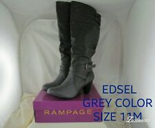 Rampage Womens Edsel Almond Toe Mid-Calf Fashion Boots, Grey, Size 11