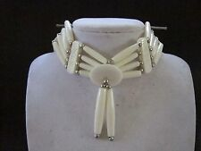WHITE CHOKER BUFFALO BONE JEWELRY NECKLACE  REGALIA POW WOW TRIBAL