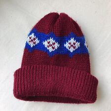Vintage 90s Red And Blue Burgandy Beanie Winter Hat