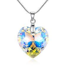 925 Silver Moonlight Crystal Heart Necklace Valentine Love Swarovski Element