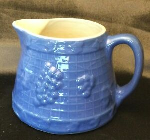 Antique UHL or Whitehall Pottery Blue Stoneware Pitcher--Grapes & Lattice