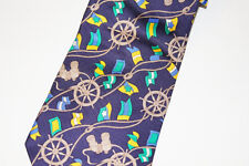 Nautical Men Neck Tie Signal Flags Ships Wheel Rope Navy Blue by Royal Tie Italy