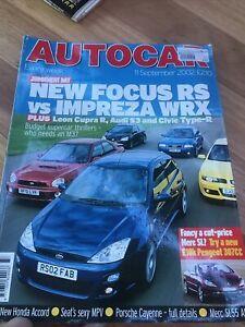 Autocar Car magazine SEPT 2002 CUPRA S3 TYPE R CAYENNE SL55 307 CC 206 VX220