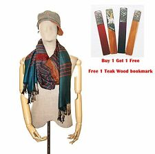 Dark Green Unisex Scarf Shawl Wrap Thai Silk Cotton Pashmina Long Scarves Gift