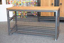 Schuhbank Schuhregal Schuhschrank Sitzbank Industriedesign Stahl Eiche