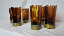 Vintage Set of 6 Murano Glass Highball with Brass Foot Tortoise Shell Unusual