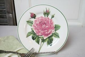 Pink Peonies Floral Plate Decorative Plate Only Green Trim White Background 8.25