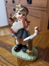 Vintage NAPCO LITTLE GIRL PLAYING CONCERTINA Accordion Figurine C8850