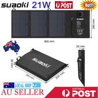 SUAOKI 21W Foldable Solar Panel Charger Dual USB Ports For iPhone Samsung iPad