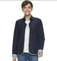 Croft Barrow Women Quilted Reversible Open Front Jacket Navy Blue Size M NWT $44