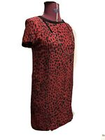 ZARA Red  Silk Dress with Black Spots and short sleeves Size 6 UK/EUR XSmall