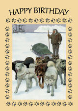 SIBERIAN HUSKY ESKIMO DOGS PULL SLED GREAT DOG BIRTHDAY GREETINGS NOTE CARD
