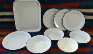 VINTAGE Enamel Ware Dishes Plates & Bowls 9 Items BLUE & WHITE Worn Condition
