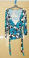Turquoise/black/white long sleeved jersey top - size 14 - Debenhams petite range