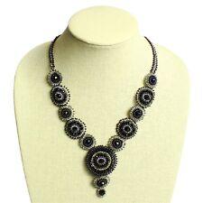 "NE114 Elegant Black Crystals Czech Glass Basket Weave Necklace Magnet Clasp 22"""