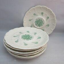 7x Vtg bone china demitasse saucers.Molded porcelain.Green roses transferware