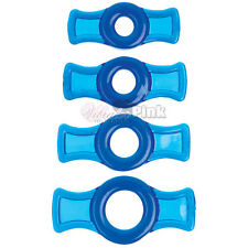 4 Pack Super Stretchy Strong Stay Hard Cock Rings ED Solution Titanmen Blue