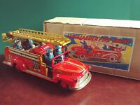 Very Rare 1950s Marusan Japan Large Tin Friction Fire Ladder Truck w/ Or. Box
