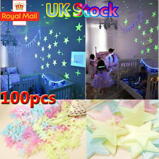 100 Glow In The Dark 3D Star Plastic Stickers kids Ceiling Wall Bedroom Room UK