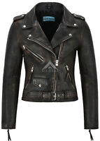 Ladies Leather Jacket Vintage BRANDO PERFECTO Fitted Urban Look Biker Jacket MBF