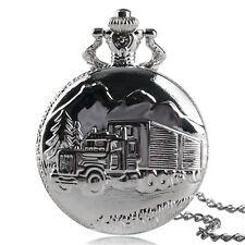 Retro Truck Lorry Steampunk Van Silver Men Children Quartz Pocket Watch Necklace