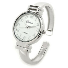 Silver Metal Band Slim Case Women's Bangle Cuff Watch