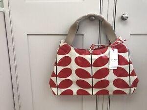 ORLA KIELY Red and White Stem Print Classic Tie Closure Shoulder Bag RARE