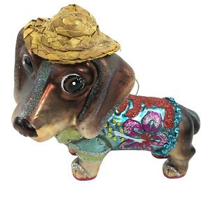 DECEMBER DIAMONDS Blown Glass Dachshund Dog Ornament Glitter Straw Hat Flip Flop