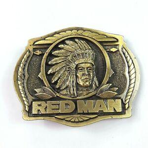 """Vintage 1988 Redman Chewing Tobacco Belt Buckle  3 1/8"""" Brass Western 80s"""