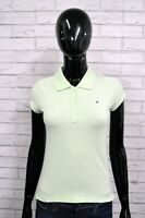 Polo Donna TOMMY HILFIGER XS Maglia Manica Corta Elastica Bianca T-shirt Jersey