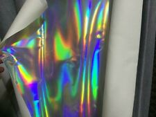 A4 Sheet Silver Holographic Vinyl Leather Fabric,Silver Holographic 20x30 cm